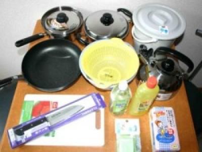 女性の自炊プランは、リーズナブルで大人気♪すぐに料理ができるように調理器具も揃ってます♪